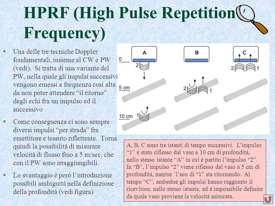 38 HPRF (High Pulse Repetition Frequency) §Una delle tre tecniche Doppler fondamentali, insieme al CW e PW (vedi). Si tratta di una variante del PW, n
