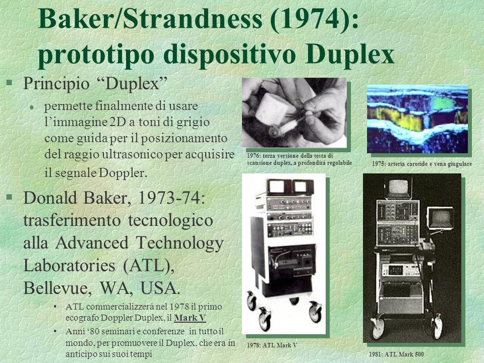 39 Baker/Strandness (1974): prototipo dispositivo Duplex §Principio Duplex l permette finalmente di usare limmagine 2D a toni di grigio come guida per