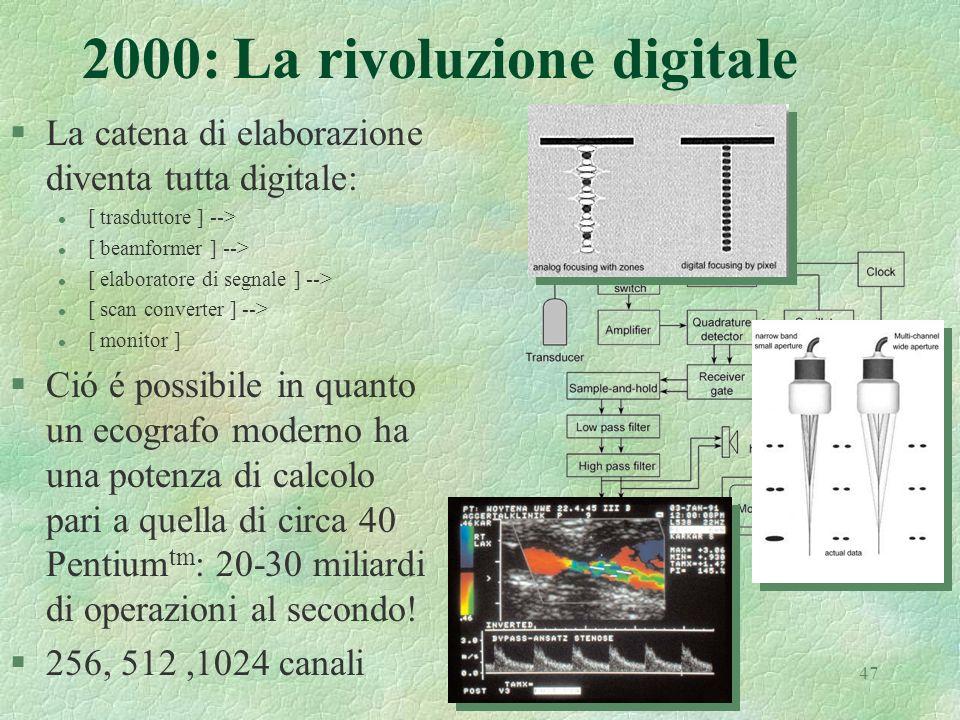 47 2000: La rivoluzione digitale §La catena di elaborazione diventa tutta digitale: l [ trasduttore ] --> l [ beamformer ] --> l [ elaboratore di segn