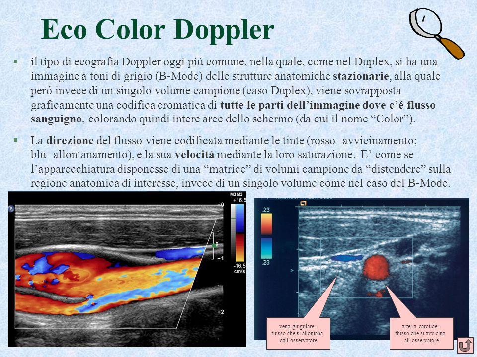 48 Eco Color Doppler §il tipo di ecografia Doppler oggi piú comune, nella quale, come nel Duplex, si ha una immagine a toni di grigio (B-Mode) delle s