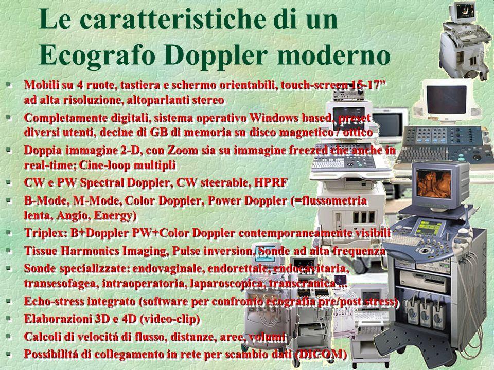 49 Le caratteristiche di un Ecografo Doppler moderno §Mobili su 4 ruote, tastiera e schermo orientabili, touch-screen 15-17 ad alta risoluzione, altop