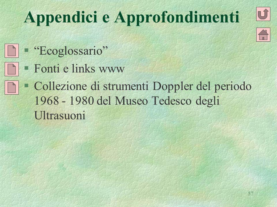57 Appendici e Approfondimenti §Ecoglossario §Fonti e links www §Collezione di strumenti Doppler del periodo 1968 - 1980 del Museo Tedesco degli Ultra