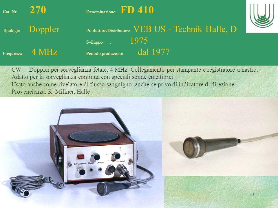 73 Cat. Nr. 270 Denominazione: FD 410 Tipologia: Doppler Produttore/Distributore: VEB US - Technik Halle, D Sviluppo : 1975 Frequenza: 4 MHz Periodo p