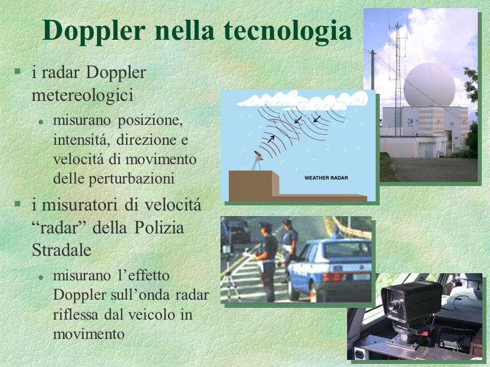8 Doppler nella tecnologia §i radar Doppler metereologici l misurano posizione, intensitá, direzione e velocitá di movimento delle perturbazioni §i mi