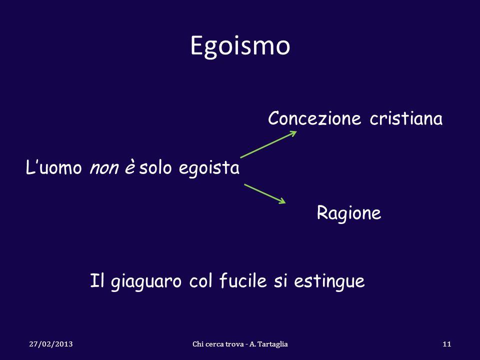 Egoismo 27/02/2013Chi cerca trova - A. Tartaglia11 Luomo non è solo egoista Concezione cristiana Ragione Il giaguaro col fucile si estingue
