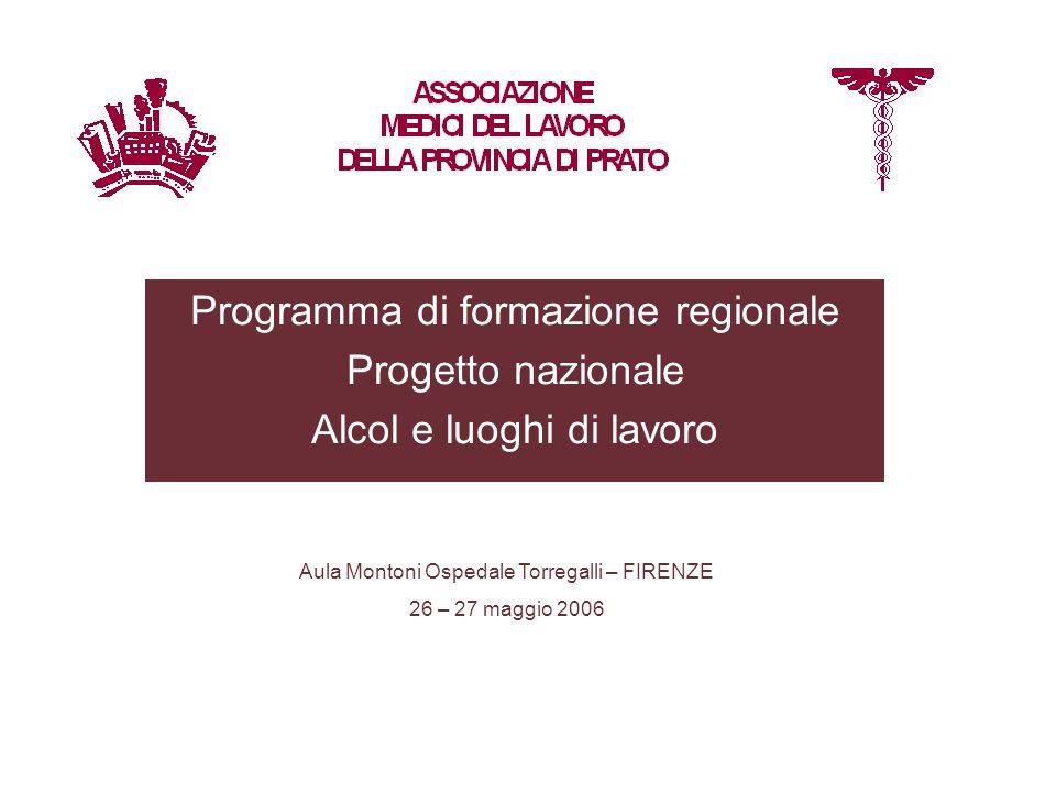 Programma di formazione regionale Progetto nazionale Alcol e luoghi di lavoro Aula Montoni Ospedale Torregalli – FIRENZE 26 – 27 maggio 2006
