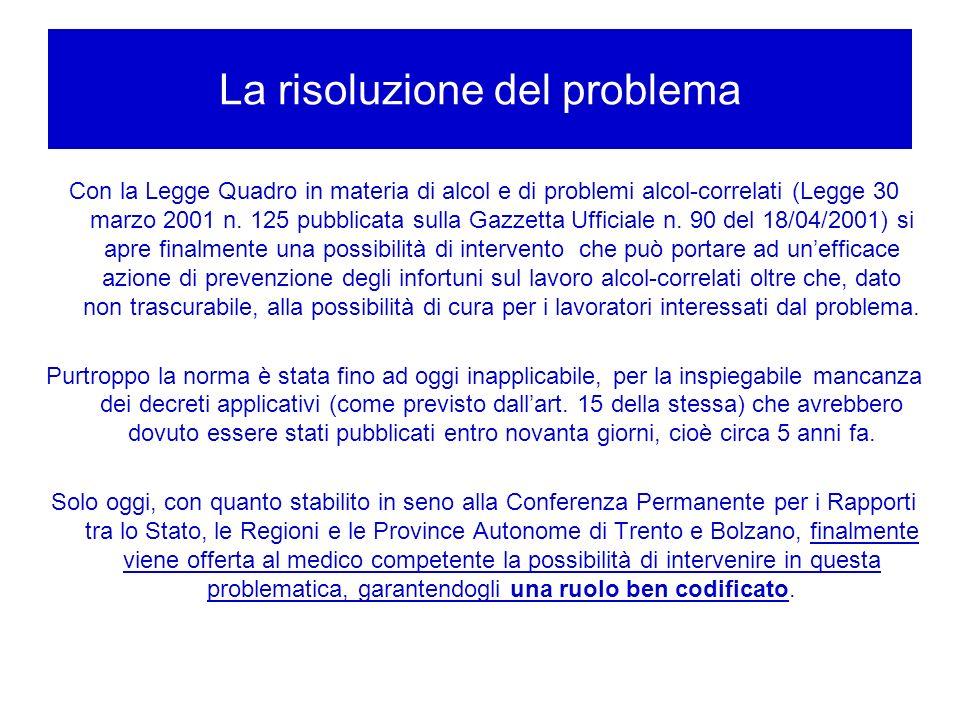 La risoluzione del problema Con la Legge Quadro in materia di alcol e di problemi alcol-correlati (Legge 30 marzo 2001 n. 125 pubblicata sulla Gazzett