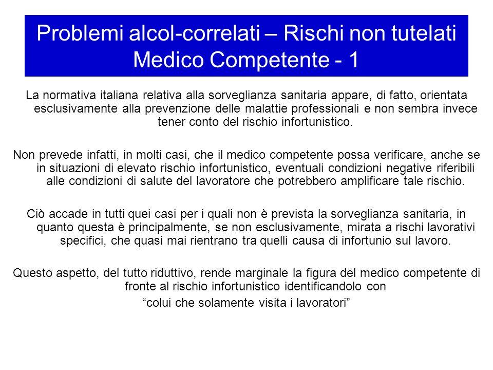 Problemi alcol-correlati – Rischi non tutelati Medico Competente - 1 La normativa italiana relativa alla sorveglianza sanitaria appare, di fatto, orie