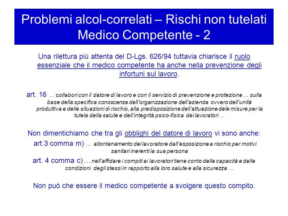 Problemi alcol-correlati – Rischi non tutelati Datore di lavoro Il datore di lavoro di fronte a queste problematiche non avrebbe altri referenti, come si è detto, che il medico del lavoro.