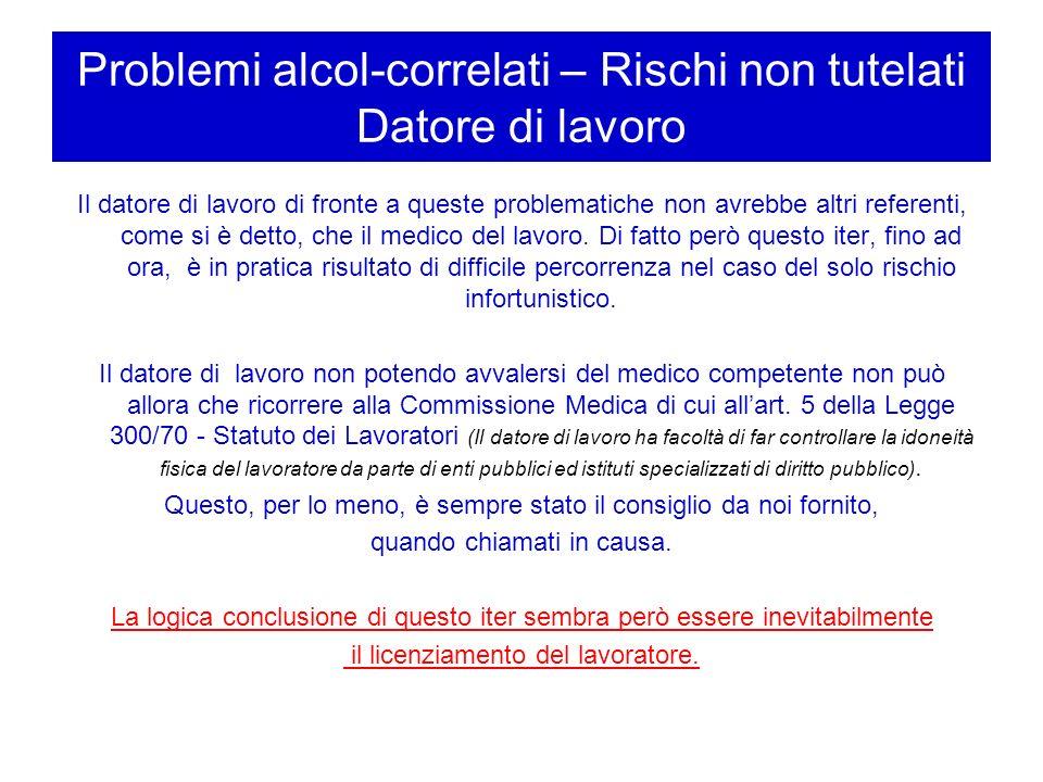 Problemi alcol-correlati – Rischi non tutelati Datore di lavoro Il datore di lavoro di fronte a queste problematiche non avrebbe altri referenti, come