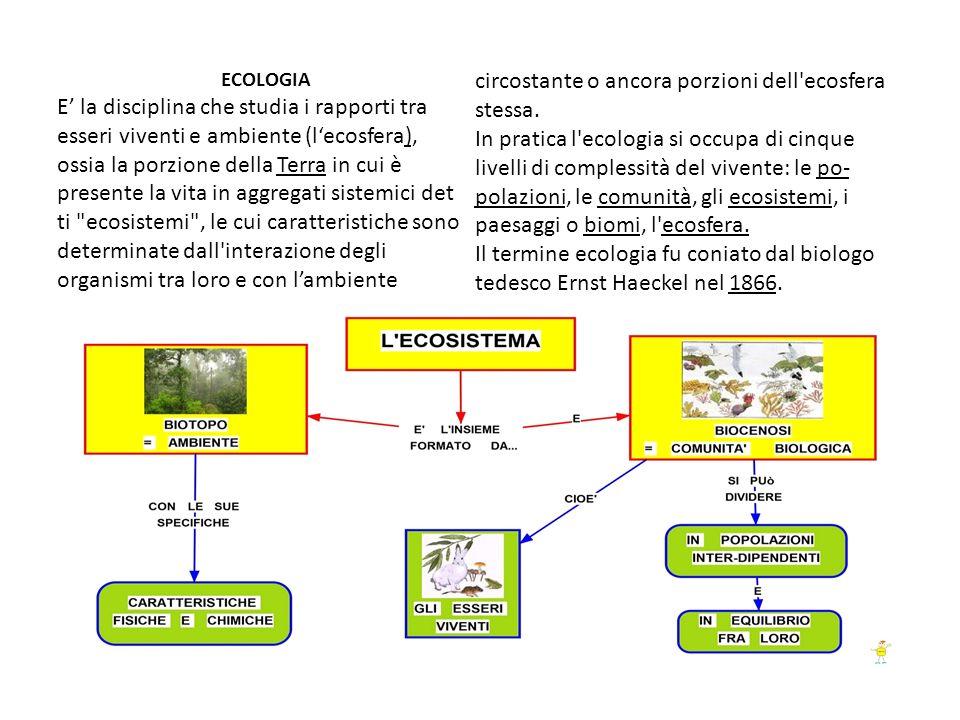 ECOLOGIA E la disciplina che studia i rapporti tra esseri viventi e ambiente (lecosfera), ossia la porzione della Terra in cui è presente la vita in a