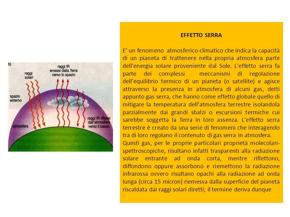 EFFETTO SERRA E un fenomeno atmosferico-climatico che indica la capacità di un pianeta di trattenere nella propria atmosfera parte dell'energia solare