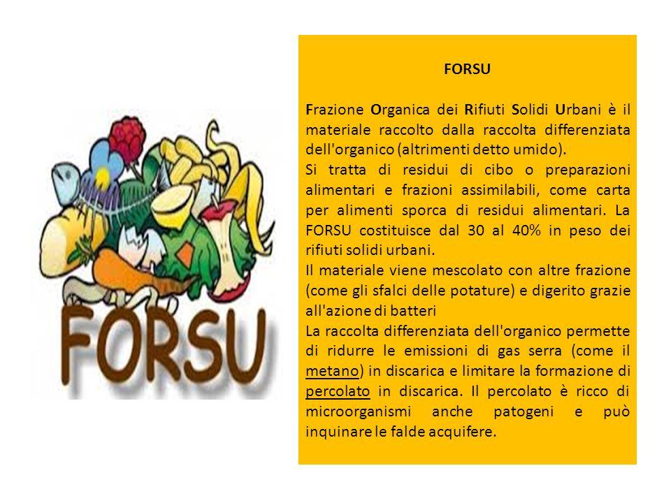 FORSU Frazione Organica dei Rifiuti Solidi Urbani è il materiale raccolto dalla raccolta differenziata dell'organico (altrimenti detto umido). Si trat