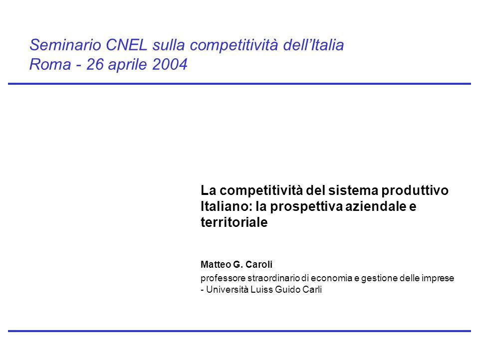 Seminario CNEL sulla competitività dellItalia Roma - 26 aprile 2004 La competitività del sistema produttivo Italiano: la prospettiva aziendale e territoriale Matteo G.
