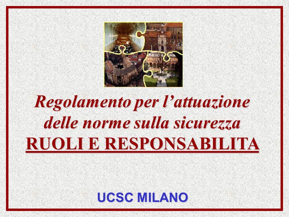 Regolamento per lattuazione delle norme sulla sicurezza RUOLI E RESPONSABILITA UCSC MILANO