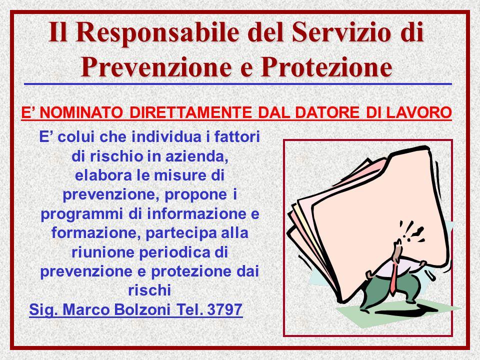 Il Responsabile del Servizio di Prevenzione e Protezione E NOMINATO DIRETTAMENTE DAL DATORE DI LAVORO E colui che individua i fattori di rischio in az