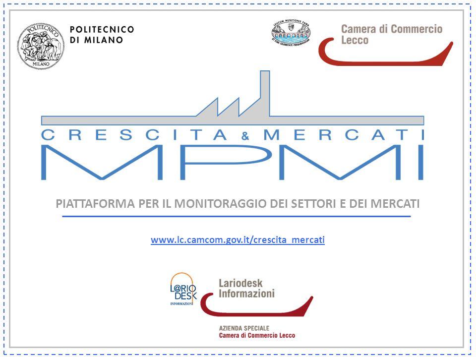 PIATTAFORMA PER IL MONITORAGGIO DEI SETTORI E DEI MERCATI www.lc.camcom.gov.it/crescita_mercati
