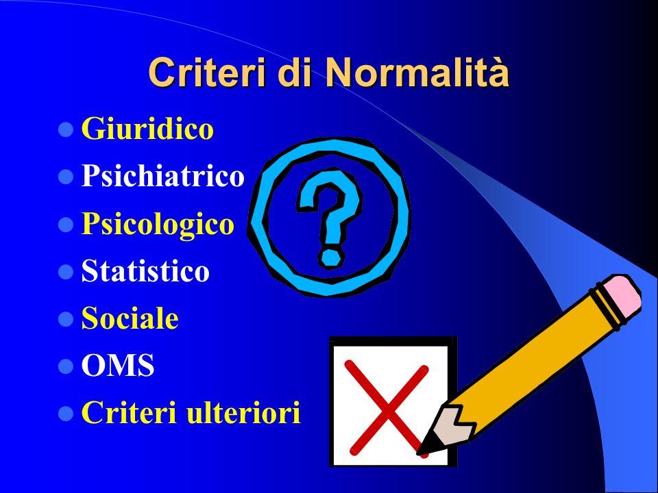 Criteri di Normalità Giuridico Psichiatrico Psicologico Statistico Sociale OMS Criteri ulteriori