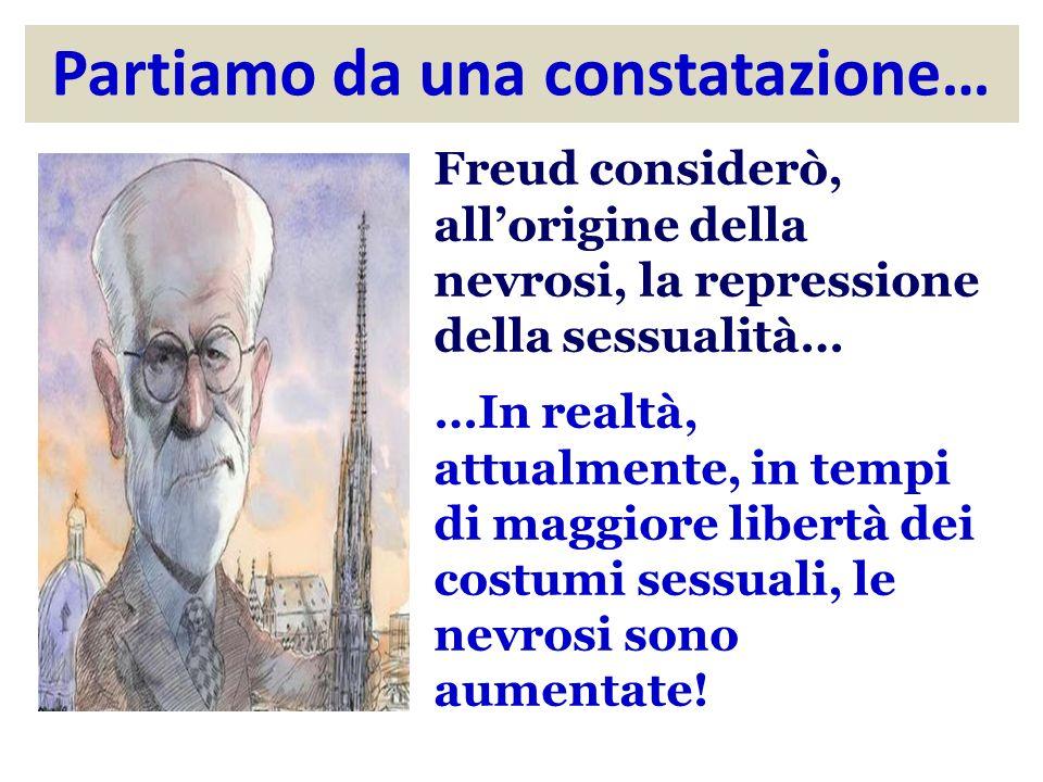 Partiamo da una constatazione… Freud considerò, allorigine della nevrosi, la repressione della sessualità… …In realtà, attualmente, in tempi di maggiore libertà dei costumi sessuali, le nevrosi sono aumentate!