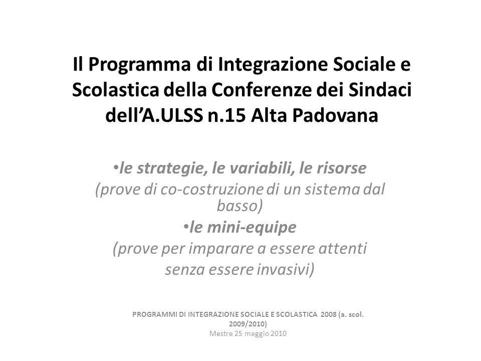 Il Programma di Integrazione Sociale e Scolastica della Conferenze dei Sindaci dellA.ULSS n.15 Alta Padovana le strategie, le variabili, le risorse (prove di co-costruzione di un sistema dal basso) le mini-equipe (prove per imparare a essere attenti senza essere invasivi) PROGRAMMI DI INTEGRAZIONE SOCIALE E SCOLASTICA 2008 (a.