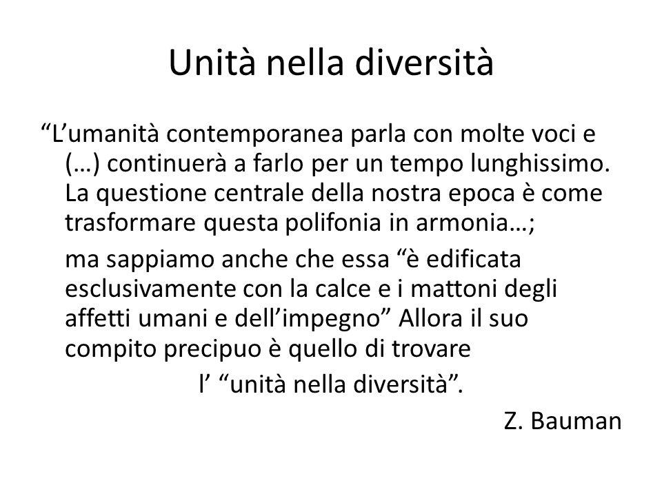 Unità nella diversità Lumanità contemporanea parla con molte voci e (…) continuerà a farlo per un tempo lunghissimo. La questione centrale della nostr