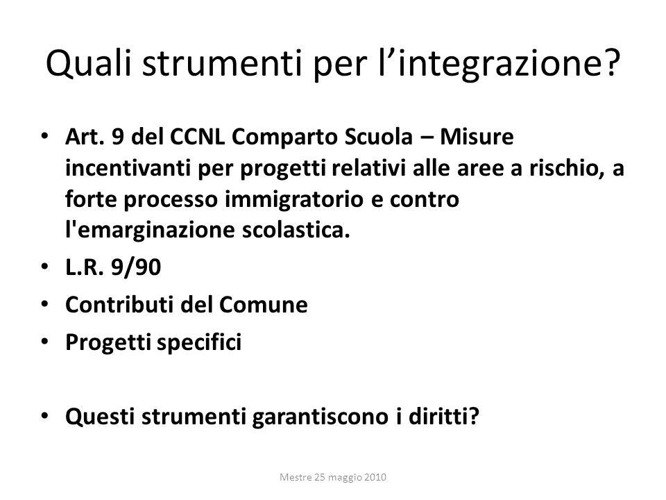 Quali strumenti per lintegrazione? Art. 9 del CCNL Comparto Scuola – Misure incentivanti per progetti relativi alle aree a rischio, a forte processo i