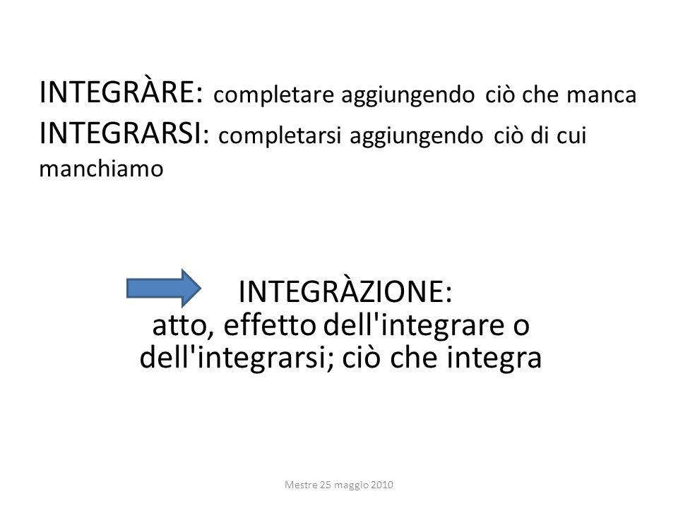 INTEGRÀRE: completare aggiungendo ciò che manca INTEGRARSI : completarsi aggiungendo ciò di cui manchiamo Mestre 25 maggio 2010 INTEGRÀZIONE: atto, effetto dell integrare o dell integrarsi; ciò che integra