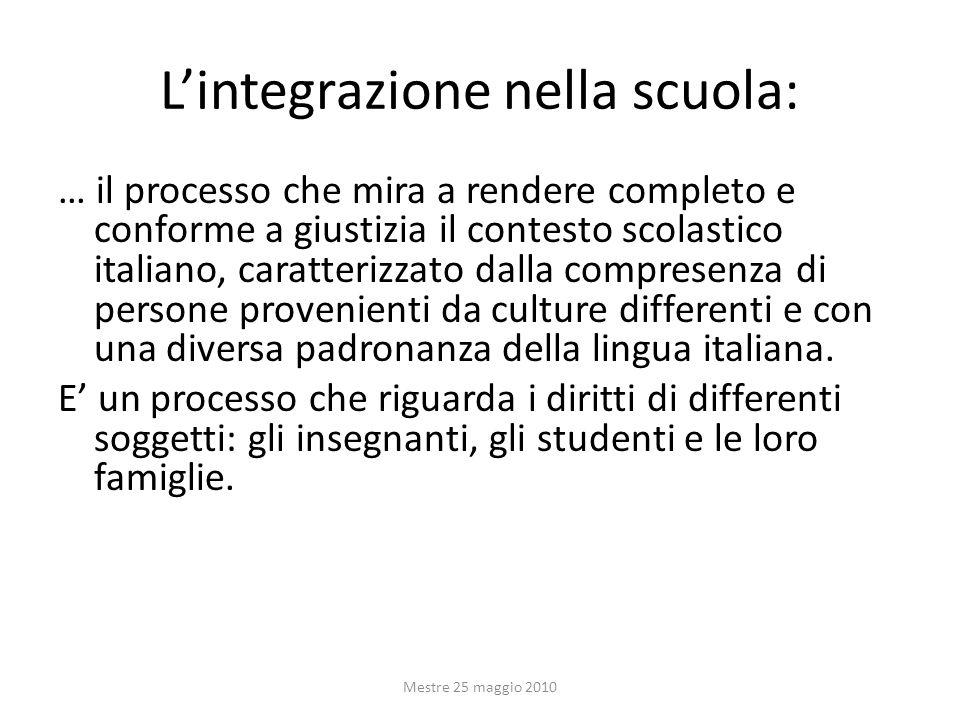 Lintegrazione nella scuola: … il processo che mira a rendere completo e conforme a giustizia il contesto scolastico italiano, caratterizzato dalla com