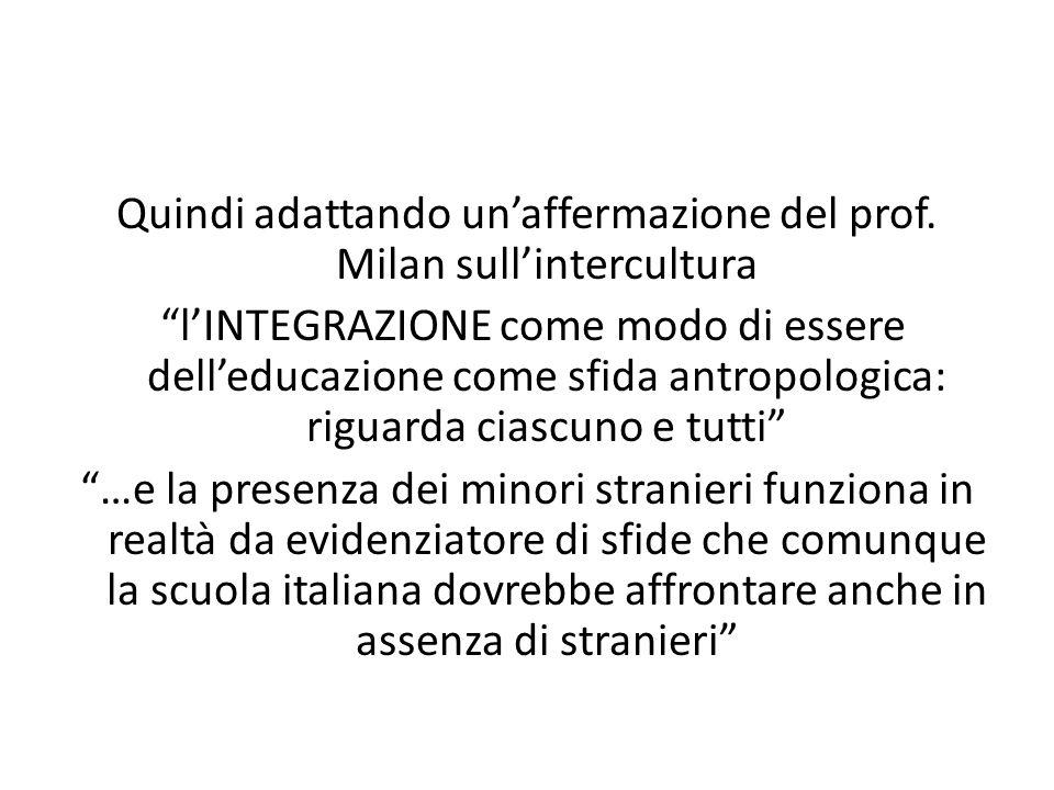 Quindi adattando unaffermazione del prof. Milan sullintercultura lINTEGRAZIONE come modo di essere delleducazione come sfida antropologica: riguarda c