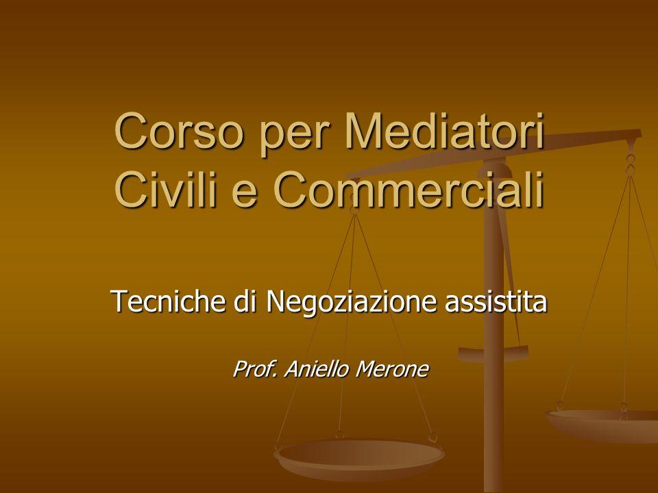 Corso per Mediatori Civili e Commerciali Tecniche di Negoziazione assistita Prof. Aniello Merone