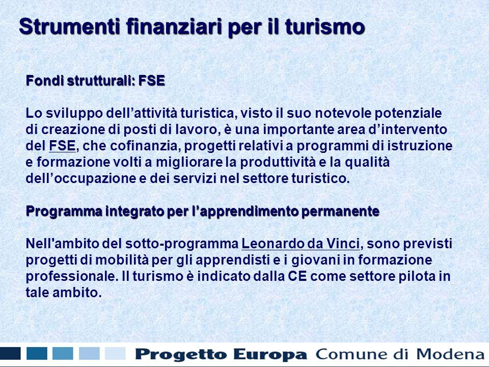 Fondi strutturali: FSE Lo sviluppo dellattività turistica, visto il suo notevole potenziale di creazione di posti di lavoro, è una importante area din
