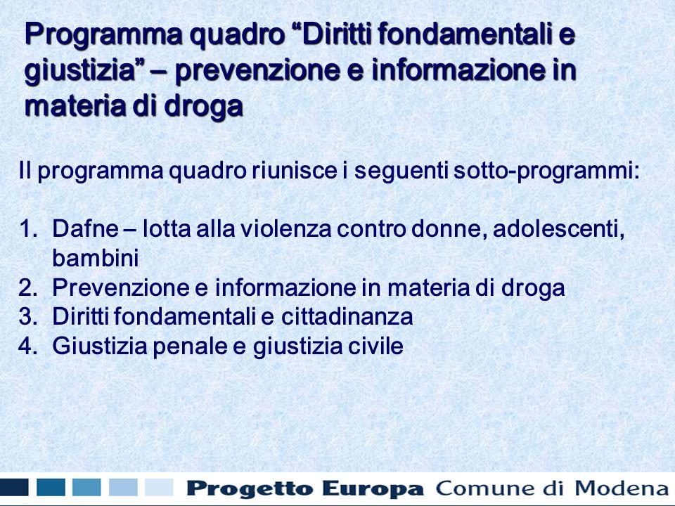 Il programma quadro riunisce i seguenti sotto-programmi: 1. 1.Dafne – lotta alla violenza contro donne, adolescenti, bambini 2. 2.Prevenzione e inform