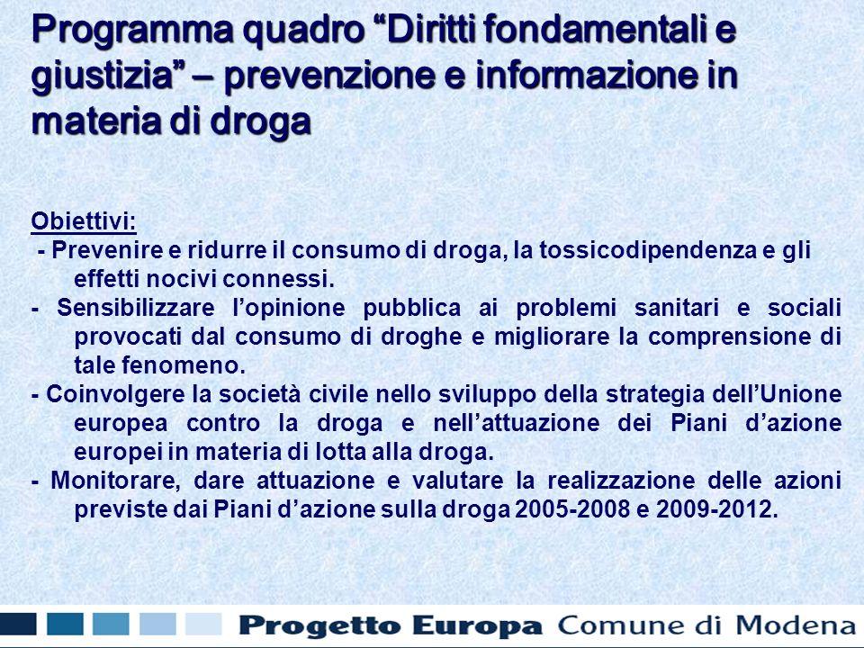 Obiettivi: - Prevenire e ridurre il consumo di droga, la tossicodipendenza e gli effetti nocivi connessi. - Sensibilizzare lopinione pubblica ai probl