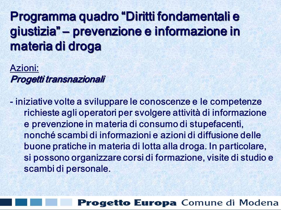 Azioni: Progetti transnazionali - iniziative volte a sviluppare le conoscenze e le competenze richieste agli operatori per svolgere attività di inform
