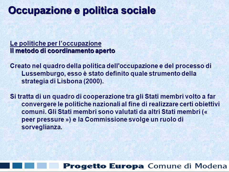 Le politiche per loccupazione Il metodo di coordinamento aperto Creato nel quadro della politica dell occupazione e del processo di Lussemburgo, esso è stato definito quale strumento della strategia di Lisbona (2000).