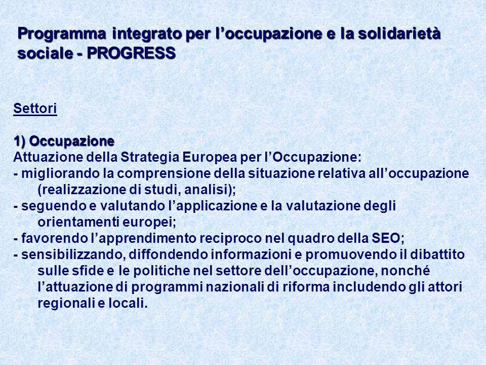 Settori 1) Occupazione Attuazione della Strategia Europea per lOccupazione: - migliorando la comprensione della situazione relativa alloccupazione (realizzazione di studi, analisi); - seguendo e valutando lapplicazione e la valutazione degli orientamenti europei; - favorendo lapprendimento reciproco nel quadro della SEO; - sensibilizzando, diffondendo informazioni e promuovendo il dibattito sulle sfide e le politiche nel settore delloccupazione, nonché lattuazione di programmi nazionali di riforma includendo gli attori regionali e locali.