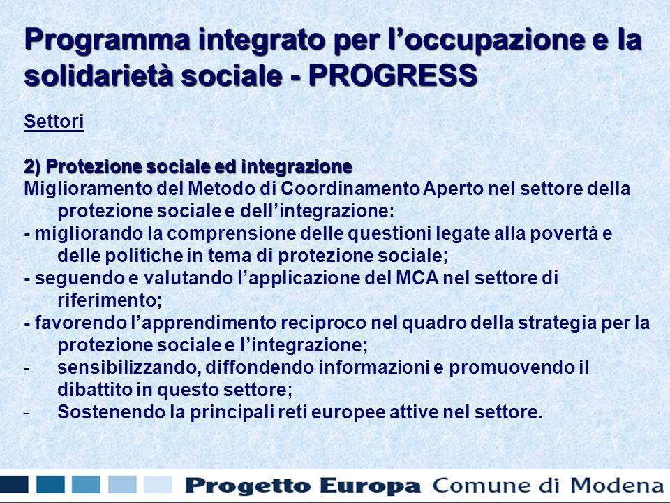Settori 2) Protezione sociale ed integrazione Miglioramento del Metodo di Coordinamento Aperto nel settore della protezione sociale e dellintegrazione: - migliorando la comprensione delle questioni legate alla povertà e delle politiche in tema di protezione sociale; - seguendo e valutando lapplicazione del MCA nel settore di riferimento; - favorendo lapprendimento reciproco nel quadro della strategia per la protezione sociale e lintegrazione; - -sensibilizzando, diffondendo informazioni e promuovendo il dibattito in questo settore; - -Sostenendo la principali reti europee attive nel settore.