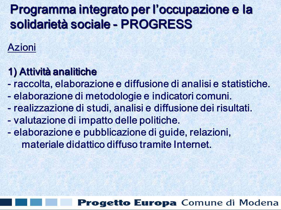Azioni 1) Attività analitiche - raccolta, elaborazione e diffusione di analisi e statistiche.
