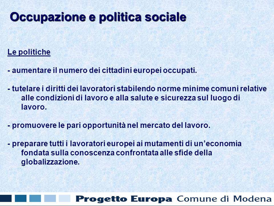 Le politiche - aumentare il numero dei cittadini europei occupati.
