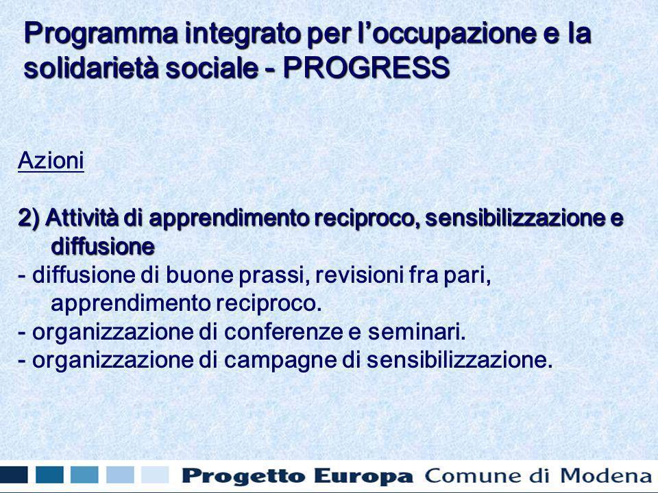 Azioni 2) Attività di apprendimento reciproco, sensibilizzazione e diffusione - diffusione di buone prassi, revisioni fra pari, apprendimento reciproco.