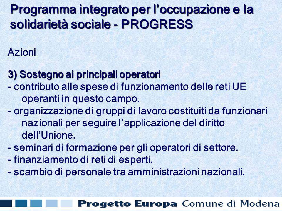 Azioni 3) Sostegno ai principali operatori - contributo alle spese di funzionamento delle reti UE operanti in questo campo.