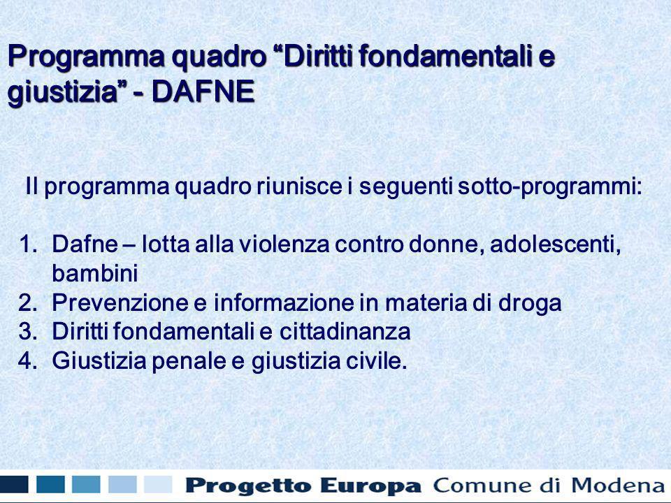 Il programma quadro riunisce i seguenti sotto-programmi: 1.
