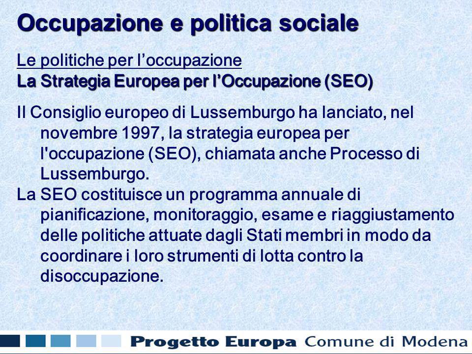 Le politiche per loccupazione La Strategia Europea per lOccupazione (SEO) Il Consiglio europeo di Lussemburgo ha lanciato, nel novembre 1997, la strategia europea per l occupazione (SEO), chiamata anche Processo di Lussemburgo.