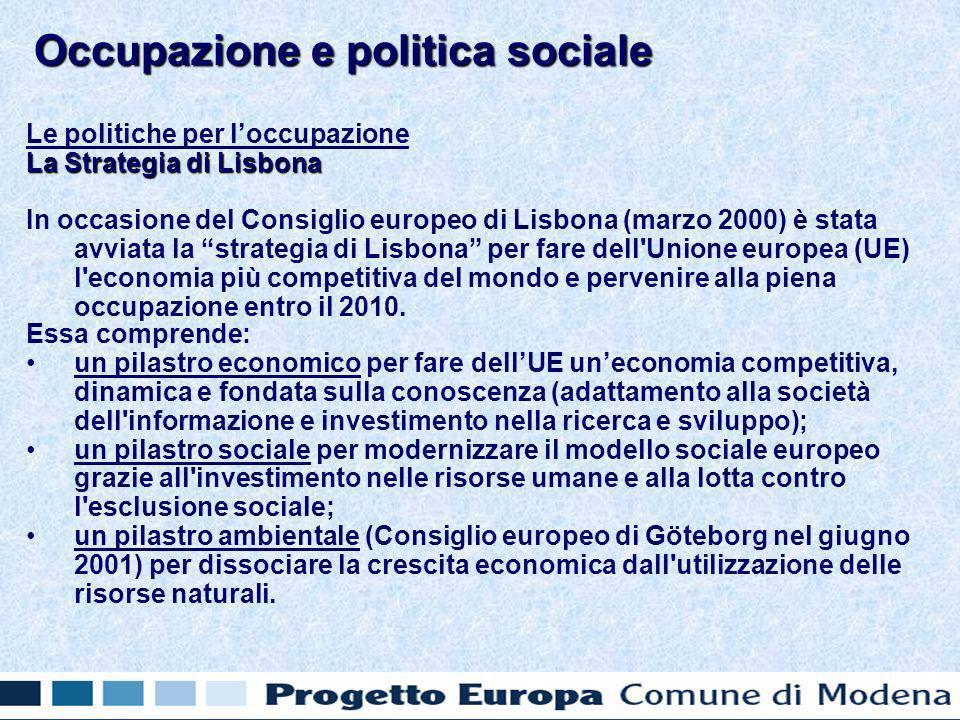 Le politiche per loccupazione La Strategia di Lisbona In occasione del Consiglio europeo di Lisbona (marzo 2000) è stata avviata la strategia di Lisbona per fare dell Unione europea (UE) l economia più competitiva del mondo e pervenire alla piena occupazione entro il 2010.