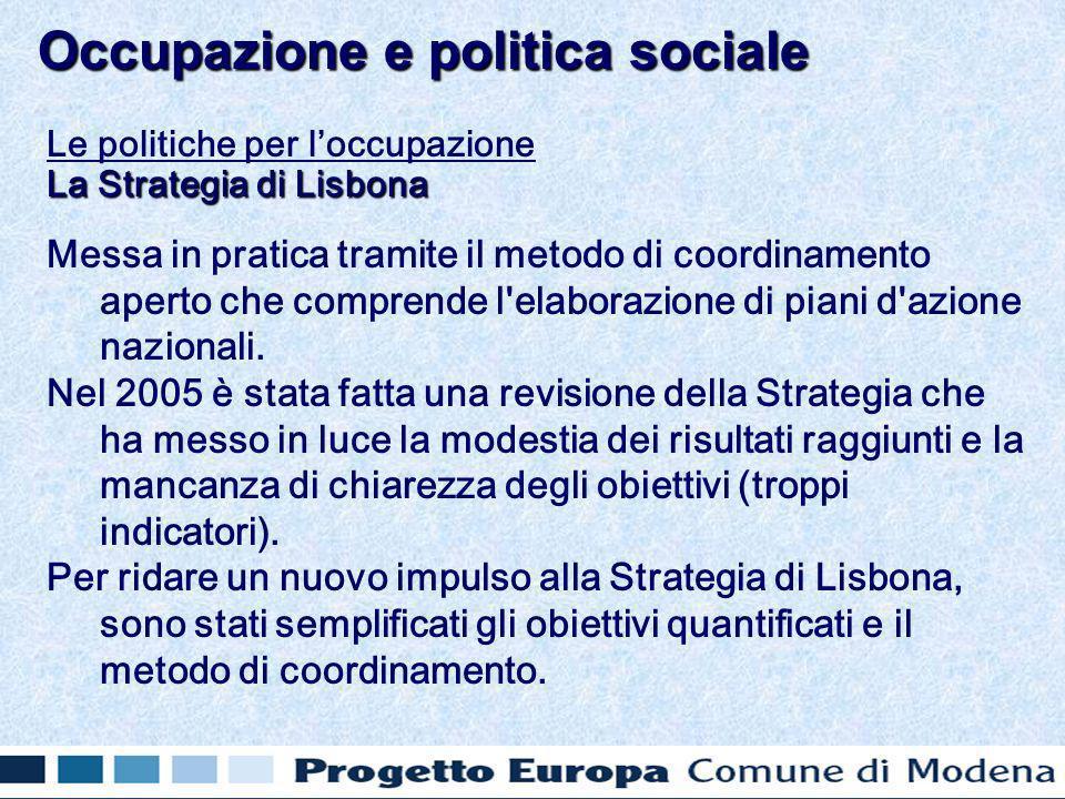 Le politiche per loccupazione La Strategia di Lisbona Messa in pratica tramite il metodo di coordinamento aperto che comprende l elaborazione di piani d azione nazionali.