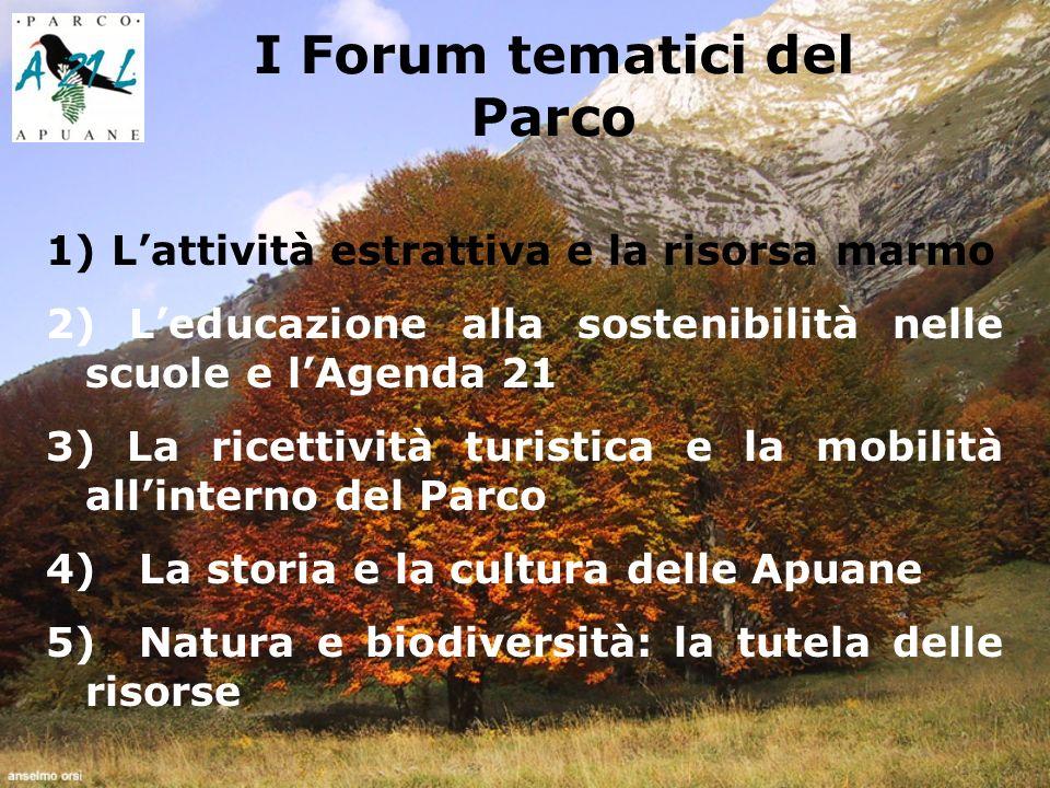 I Forum tematici del Parco 1) Lattività estrattiva e la risorsa marmo 2) Leducazione alla sostenibilità nelle scuole e lAgenda 21 3) La ricettività turistica e la mobilità allinterno del Parco 4) La storia e la cultura delle Apuane 5) Natura e biodiversità: la tutela delle risorse