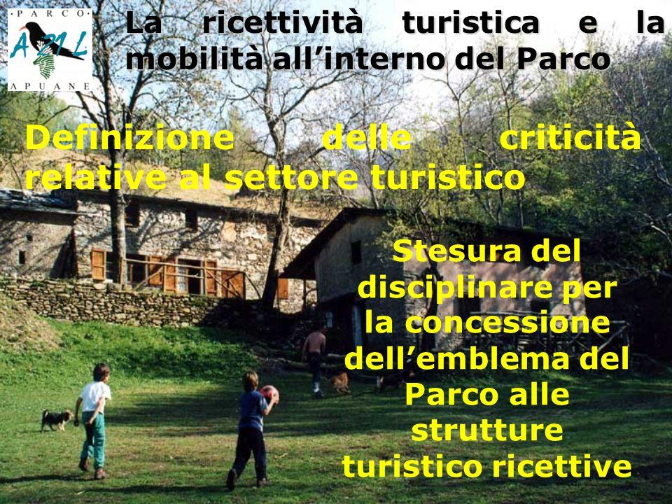 Definizione delle criticità relative al settore turistico La ricettività turistica e la mobilità allinterno del Parco Stesura del disciplinare per la concessione dellemblema del Parco alle strutture turistico ricettive