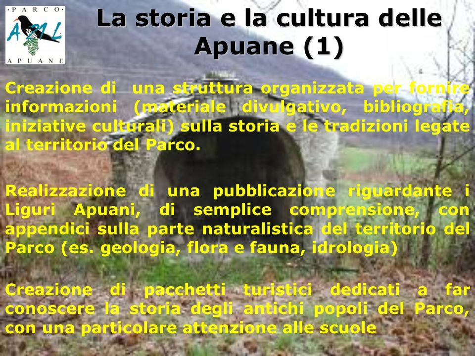 La storia e la cultura delle Apuane (1) Creazione di una struttura organizzata per fornire informazioni (materiale divulgativo, bibliografia, iniziative culturali) sulla storia e le tradizioni legate al territorio del Parco.