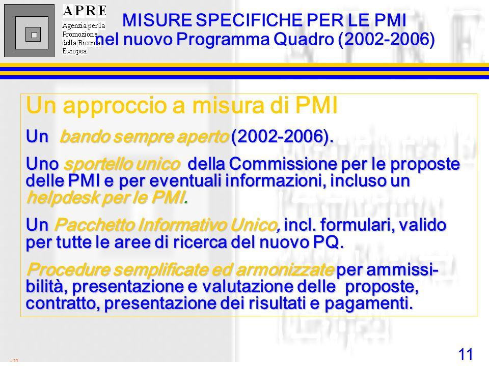 11 - 11 MISURE SPECIFICHE PER LE PMI nel nuovo Programma Quadro (2002-2006) Un approccio a misura di PMI Un bando sempre aperto (2002-2006). Uno sport