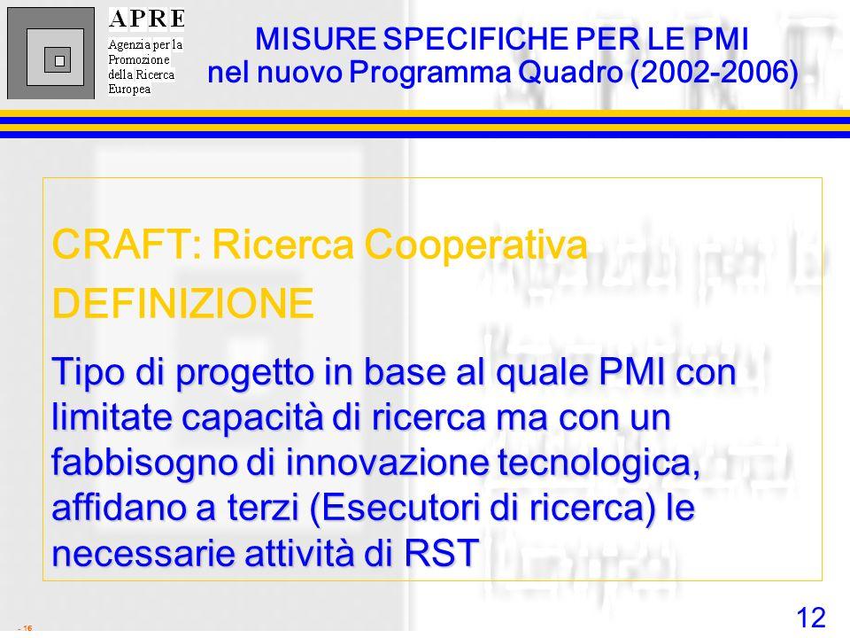 12 - 16 MISURE SPECIFICHE PER LE PMI nel nuovo Programma Quadro (2002-2006) CRAFT: Ricerca Cooperativa DEFINIZIONE Tipo di progetto in base al quale P